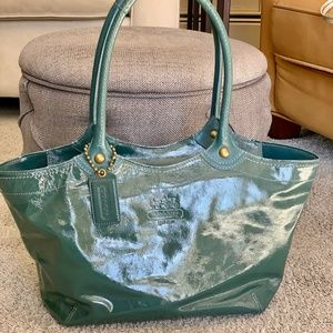 Coach Blue Patent Leather Tote
